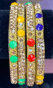Multicoloured Gold Plated Bangles