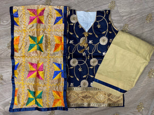 Navy Blue Phulkari Salwar Suit