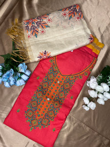 Cotton unstitched suits with light-weight Dupattas