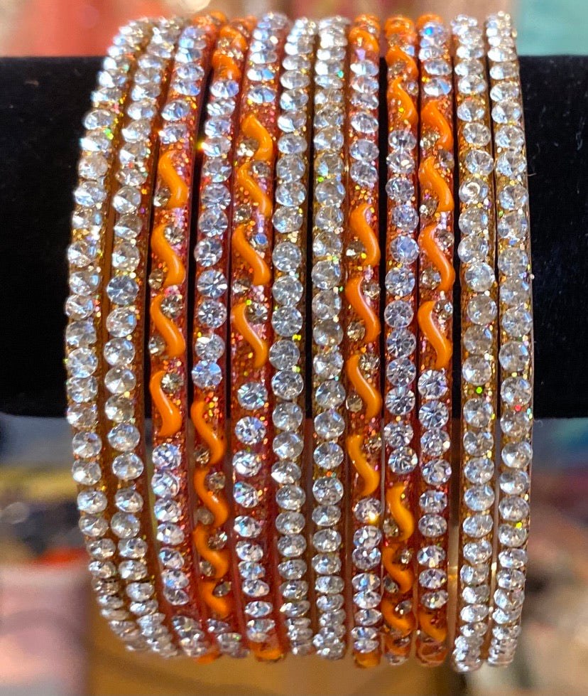 Orange & silver glass bangles