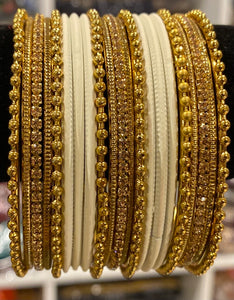 Cream & golden bangles