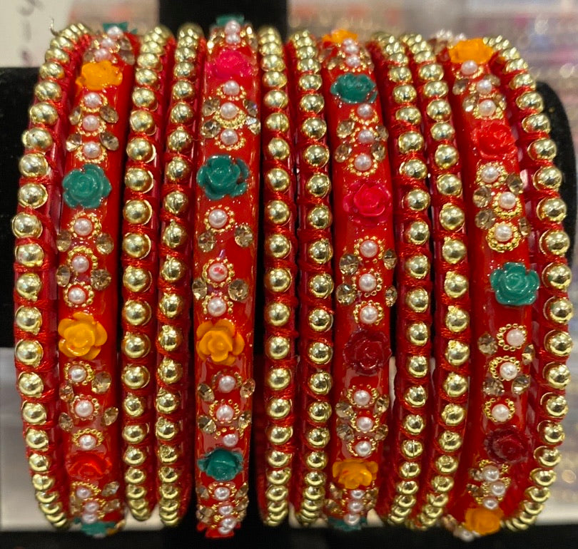 Rose Bangles (Red Multi-coloured)