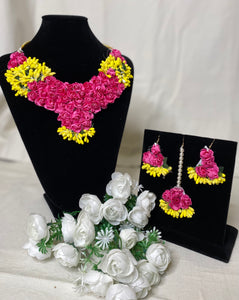 Pink & yellow flower jewellery
