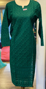 Green Chikan Work Kurtis