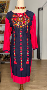 Embroidered pink, orange & navy blue kurti