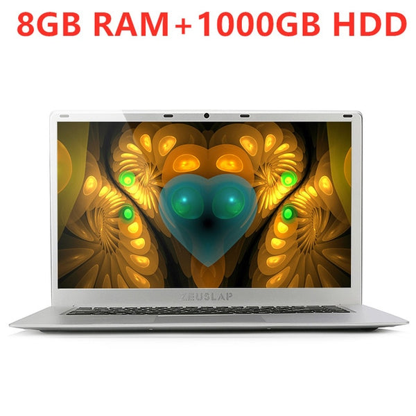 Laptop 15.6inch 8G RAM+1000/2TB HDD Intel Quad Core CPU 1920X1080P Full HD Backlit Keyboard Home Office School Notebook Computer
