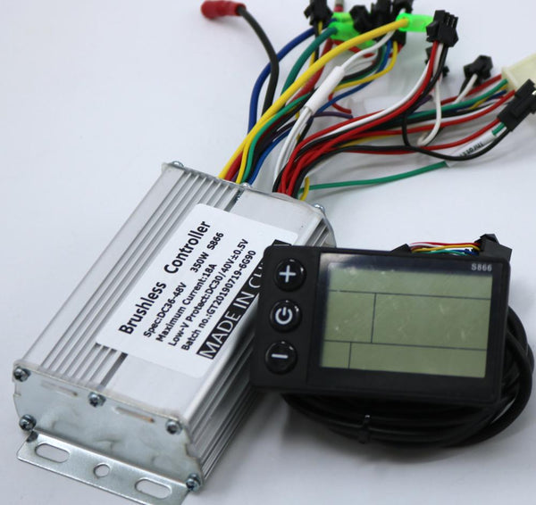 GREENTIME 36V 48V 350W 18A BLDC motor controller E-bike brushless speed controller and S866 LCD Display one set