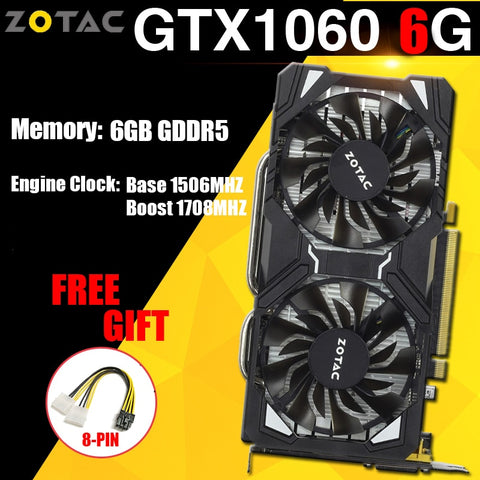 ZOTAC NVIDIA Graphics Cards GTX 1060 6GB Gaming PC Video Card NVIDIA GeForce GPU GTX 1060 6GB 192Bit GDDR5 VGA Card For PC Used