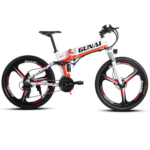 GUNAI Electric Bike 350W Foldable Mountain E-bike with 48V 10.4AH Hidden Lithium Battery 26 Inch