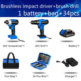 300Nm Electric Cordless Drill Screwdriver Brushless Motor Impact Driver Combo Kit 34pcs Drill Bits 20V Power Tool by PROSTORMER