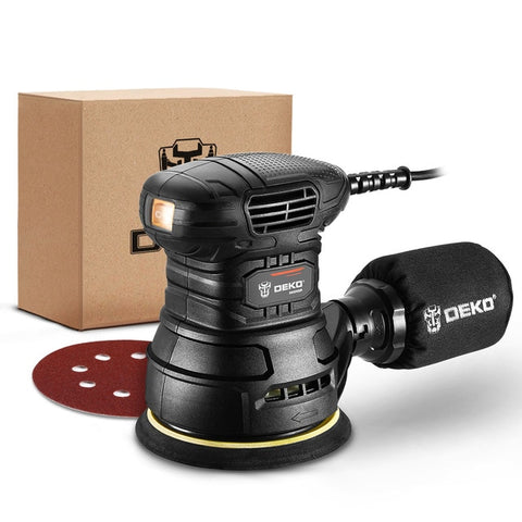 DEKO DKSD150J2 450W Random Orbit Sander with sandpaper and Hybrid dust canister