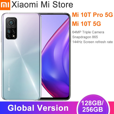 "Global Version Xiaomi Mi 10T/10T Pro Smartphone Snapdragon 865 Octa Core 144Hz 64MP/108MP Rear Camera 6.67"" DotDisplay"