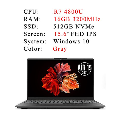 lenovo air 15  laptop 2021 Ryzen 7 4800U 16GB RAM 512GB NVMe SSD 15.6 inch FHD IPS screen Notebook ordinateurs portable laptops
