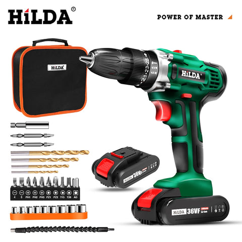 HILDA Electric Screwdriver  Drill Lithium Battery Double-speed Mini Drill Cordless Screwdriver Power Tools Cordless Drill