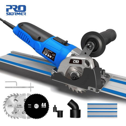 120V/230V Mini Circular Saw 500W Plunge Cut Track Cutting Wood Metal Tile Cutter 3 Blades Electric Saw Power Tool by PROSTORMER