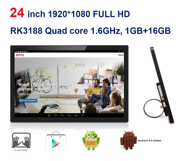 24 inch Android all in one pc,kiosk,smart TV 3-in-1 (Touch screen,RK3188 1.8GHz, Quad core 1GB DDR3 16GB, camera,VESA,Bluetooth)