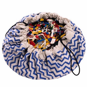 French Navy 2 in 1 Portable Play Mat and Toy Storage Bag