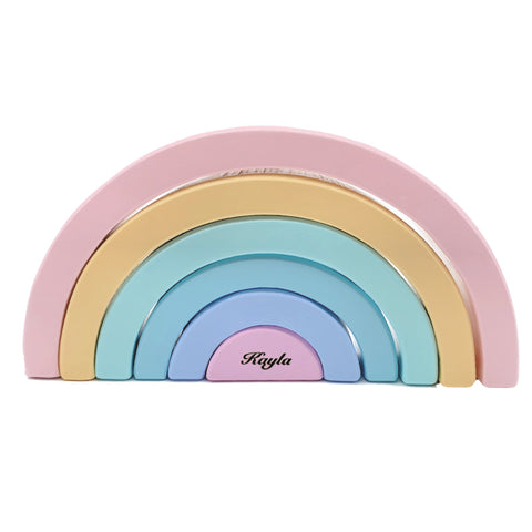 Personalised Wooden Macaron Pastel Rainbow Stacker