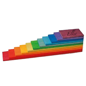 Personalised Montessori Wooden Rainbow Building Blocks