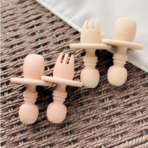 Soft Peach Bundle | Baby Silicone Fork and Spoon Set