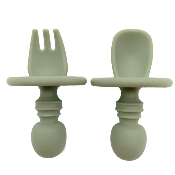 Earthy Series Baby Silicone Fork and Spoon Set (5 Colours)