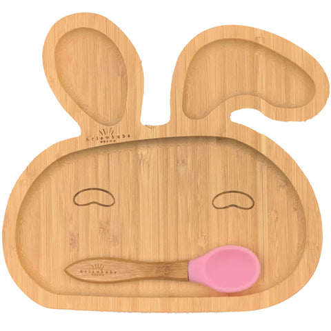 Organic Bamboo Bunny Section Plate + Spoon Set (3 Colours)