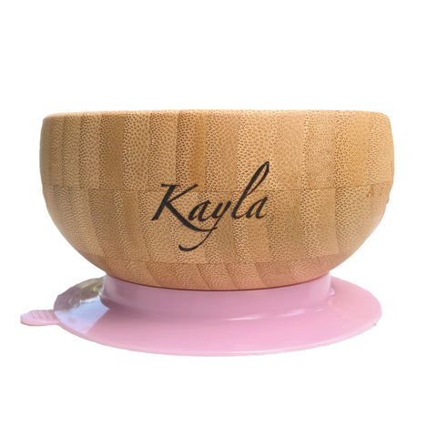 Personalised Organic  Baby Bamboo Bowl + Spoon Set (3 Colours)