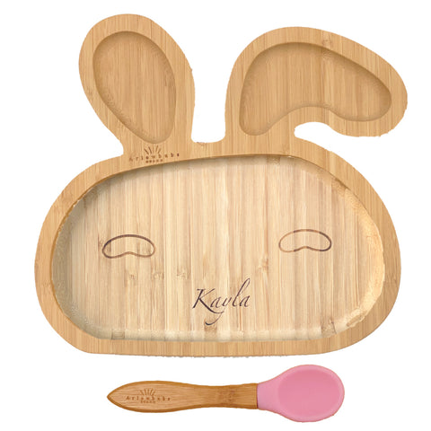 Personalised Organic Bamboo Bunny Section Plate + Spoon Set (3 Colours)
