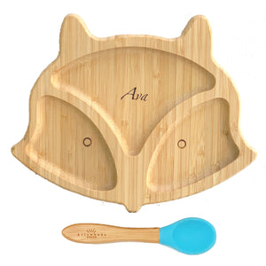 Personalised Organic Bamboo Fox Section Plate + Spoon Set (4 Colours)