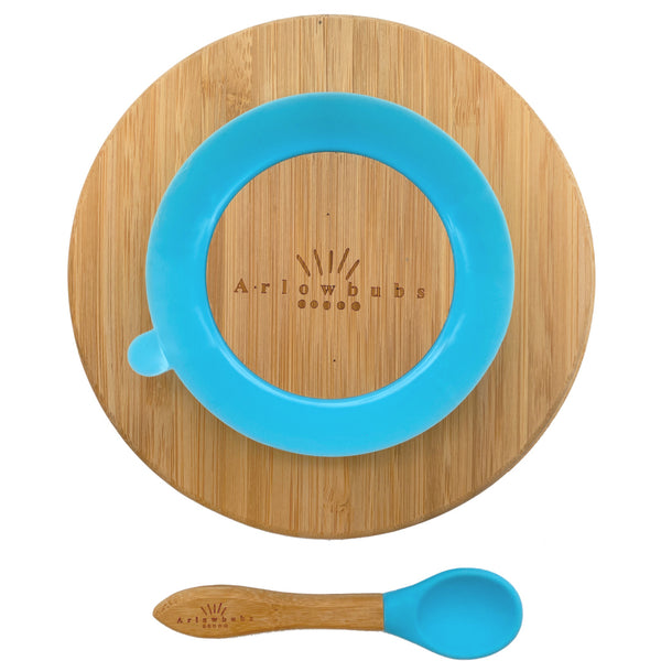 Personalised Organic Baby Bamboo Round Section Plate + Spoon Set (3 Colours)