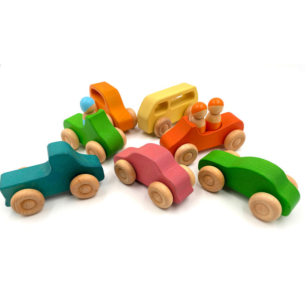Wooden Toy Car Set: 7 Rainbow Peg Dolls with Cars