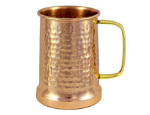 Load image into Gallery viewer, German Style Hammered Copper Beer Stein - 100% Pure Heavy Gauge Copper Beer Mug - 20 oz