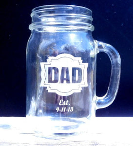 16 Oz Dad Fathers Day Gift Idea Engraved Mason Jar Beer Mug Personalized Drinking Glass Etched Gift for Father Grandpa Kids Birth Dates