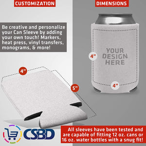 CSBD Beer Can Coolers Sleeves, Soft Insulated Reusable Drink Caddies for Water Bottles or Soda, Collapsible Blank DIY Customizable for Parties, Events or Weddings, Bulk (12, White)