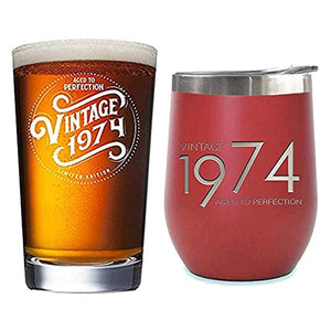 1974 45th Birthday Gifts for Men Women Beer Glass | 16 oz Pint Funny 45 Year Old Vintage Glasses for Decorations Party Supplies | Gift Ideas for Dad, Mom, Husband, Wife | Best Pub Craft Beers Cup