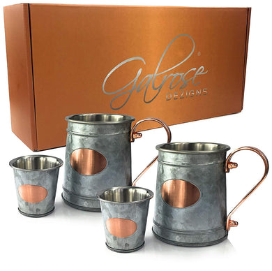 Galrose BEER MUG BEER STEIN - New Look MOSCOW MULE MUGS + 2 Bonus SHOT GLASSES Set Galvanized Iron Stainless Steel Lined Double Wall/Rose Gold Plaque & Handle 6th Wedding Anniversary Gifts for Couple