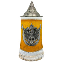 Load image into Gallery viewer, Beer Glass German Eagle Metal Medallion Bar Gifts for Men With Metal Lid Glass Mug by E.H.G. | .5 Liter