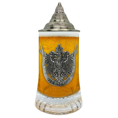 Beer Glass German Eagle Metal Medallion Bar Gifts for Men With Metal Lid Glass Mug by E.H.G. | .5 Liter