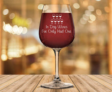 Load image into Gallery viewer, In Dog Wines Funny Wine Glass - Best Christmas Gifts for Mom, Dad - Unique Xmas Gag Gift for Dog Lover, Women, Men - Cool Bday Present from Husband, Son, Daughter - Fun Novelty Glass for Wife, Friend