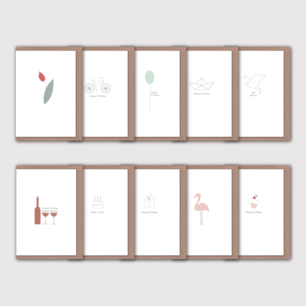minimalist birthday card pack set of 10 elemente design