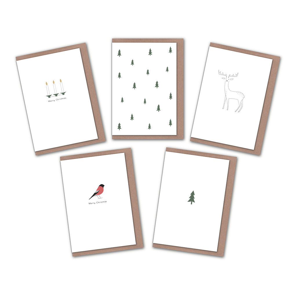 Pack of 5 Minimalist Christmas cards