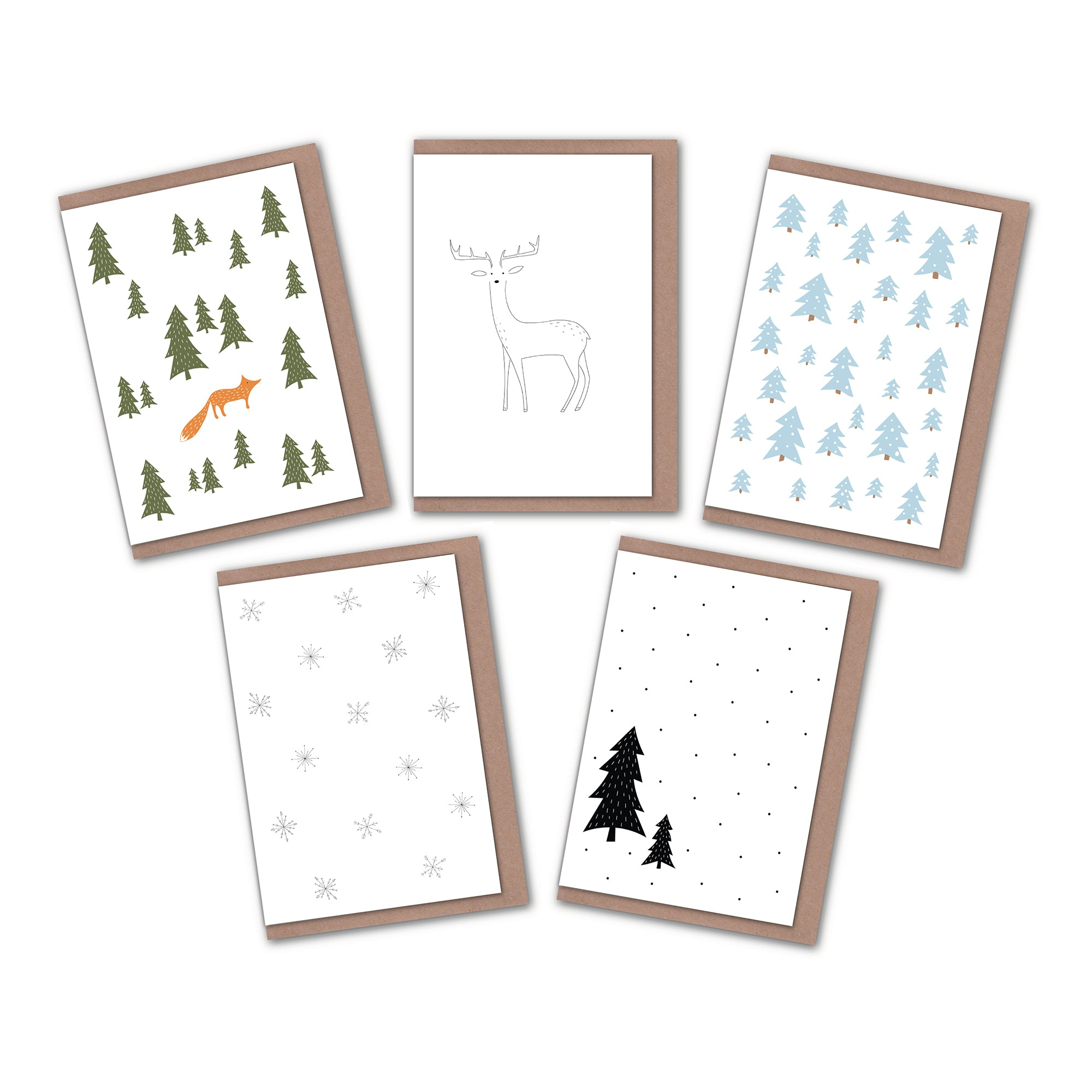 pack of 5 minimalist Christmas cards elemente design