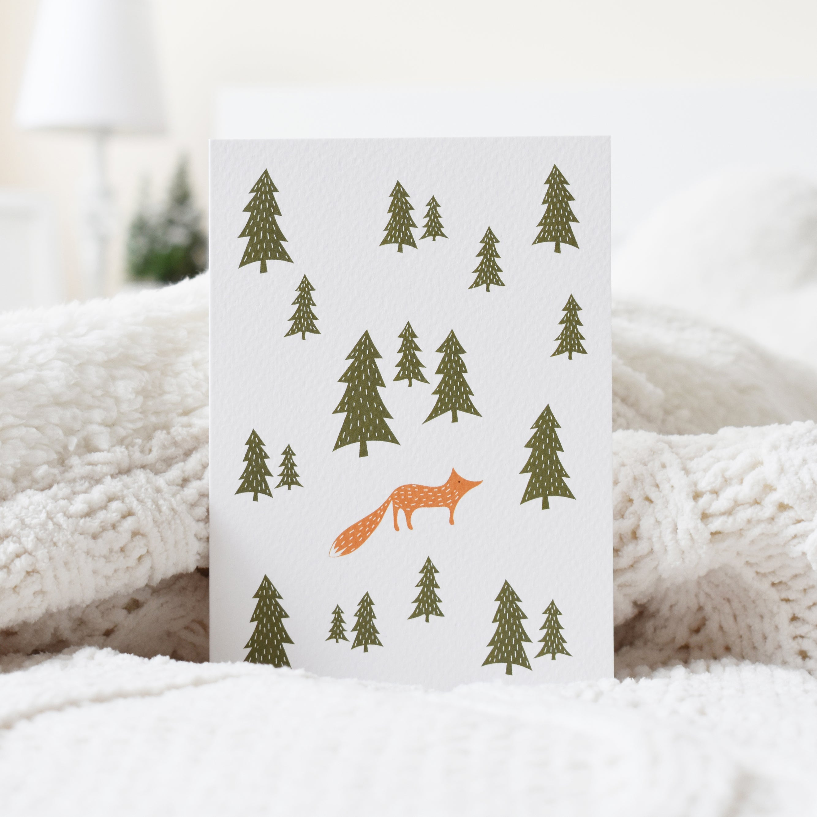 Wild fox in the forest Christmas card elemente design