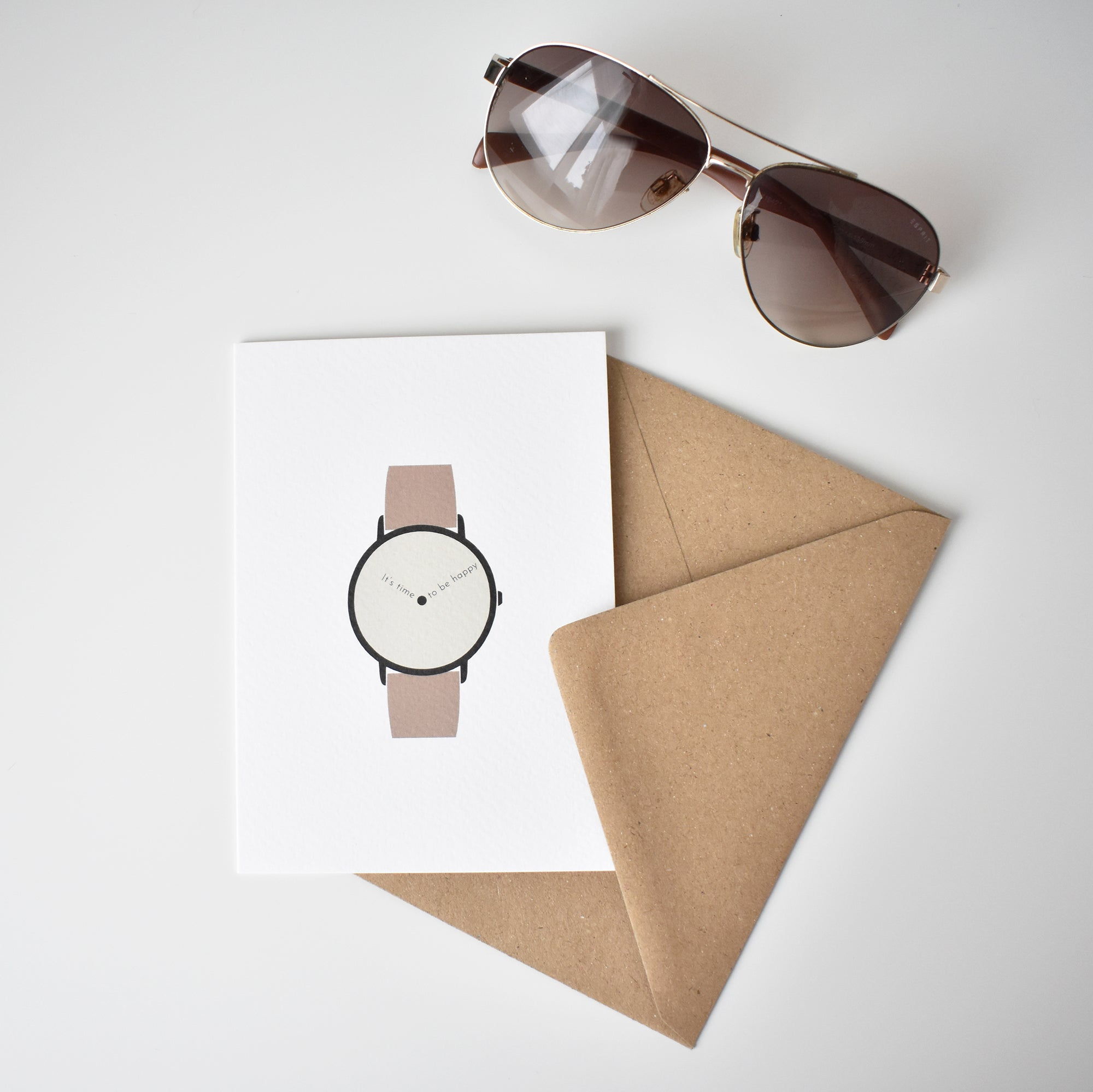 men wristwatch and glasses time to be happy greeting card Elemente Design
