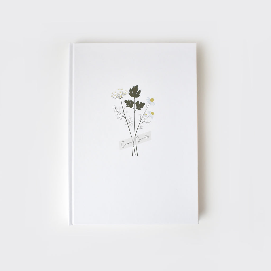 minimalist illustrated recipe book bouquet of herbs elemente design