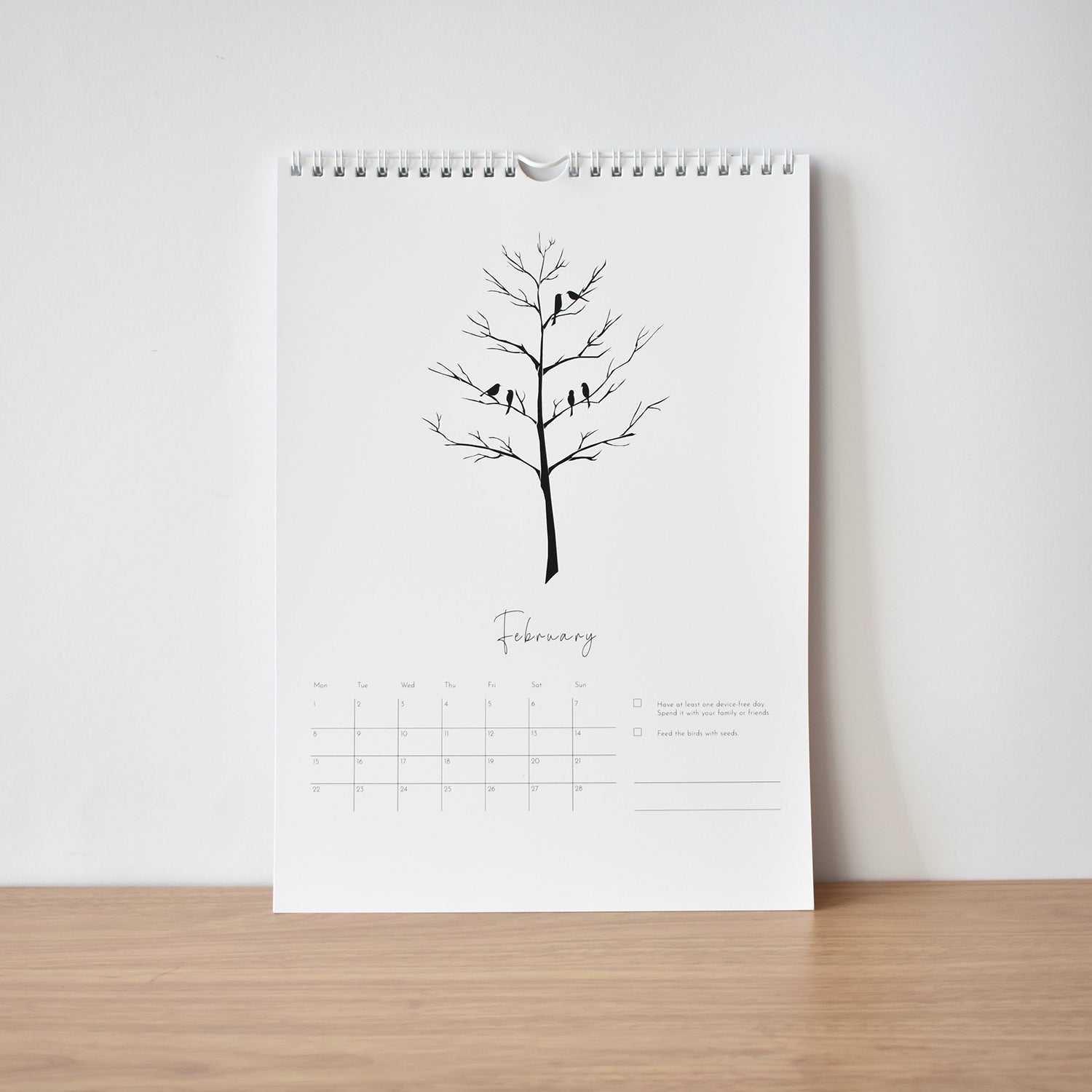 February Kindness & happiness calendar 2021 elemente design birds on a tree