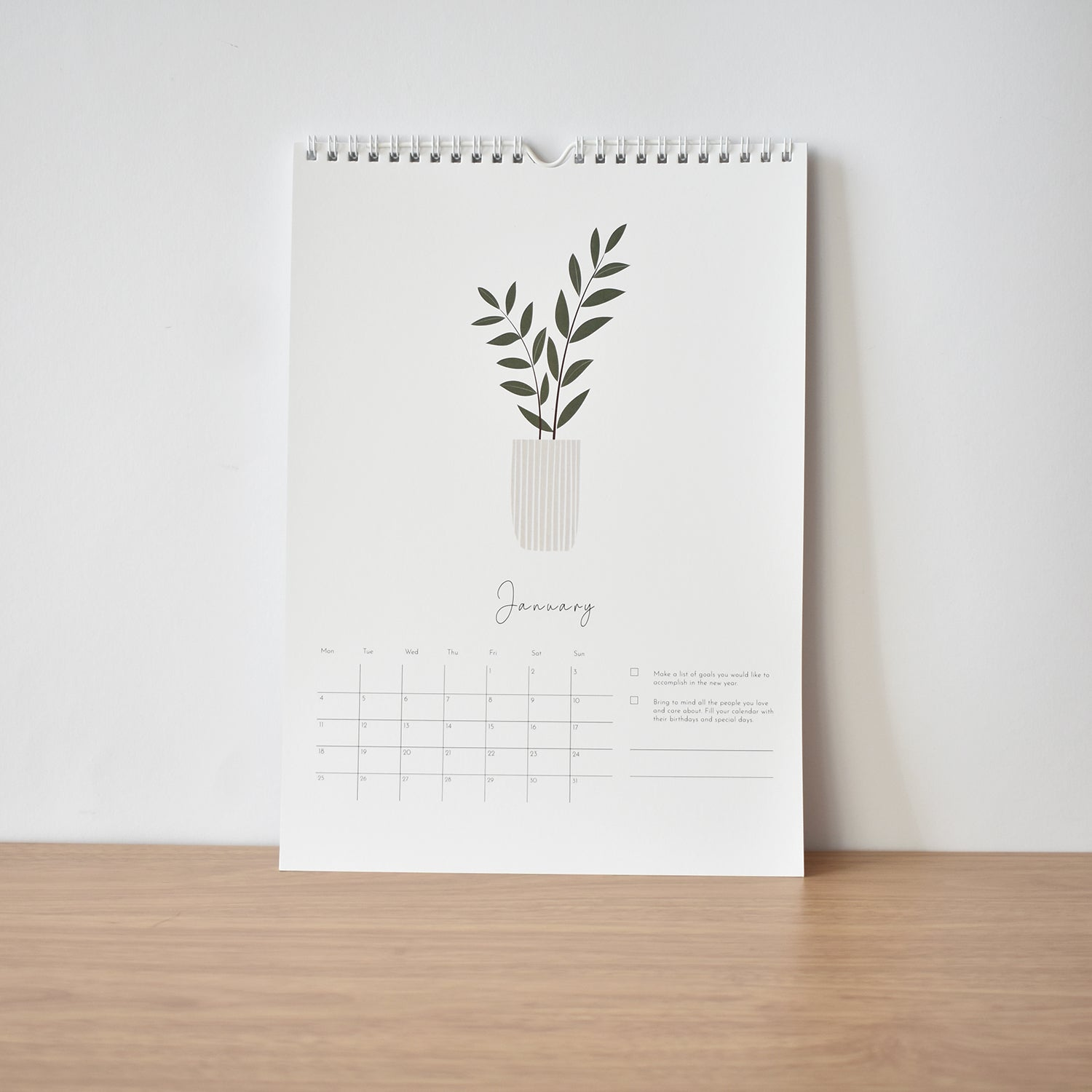 January Kindness & happiness calendar 2021 elemente design home plant