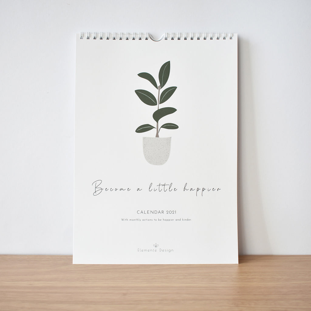 Kindness & happiness calendar 2021 elemente design home plant