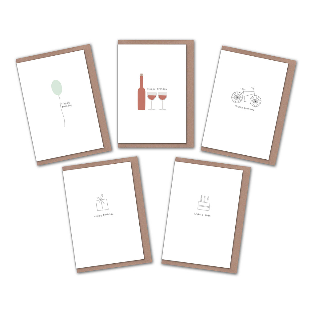 Pack of 5 minimalist birthday greeting cards Elemente Design