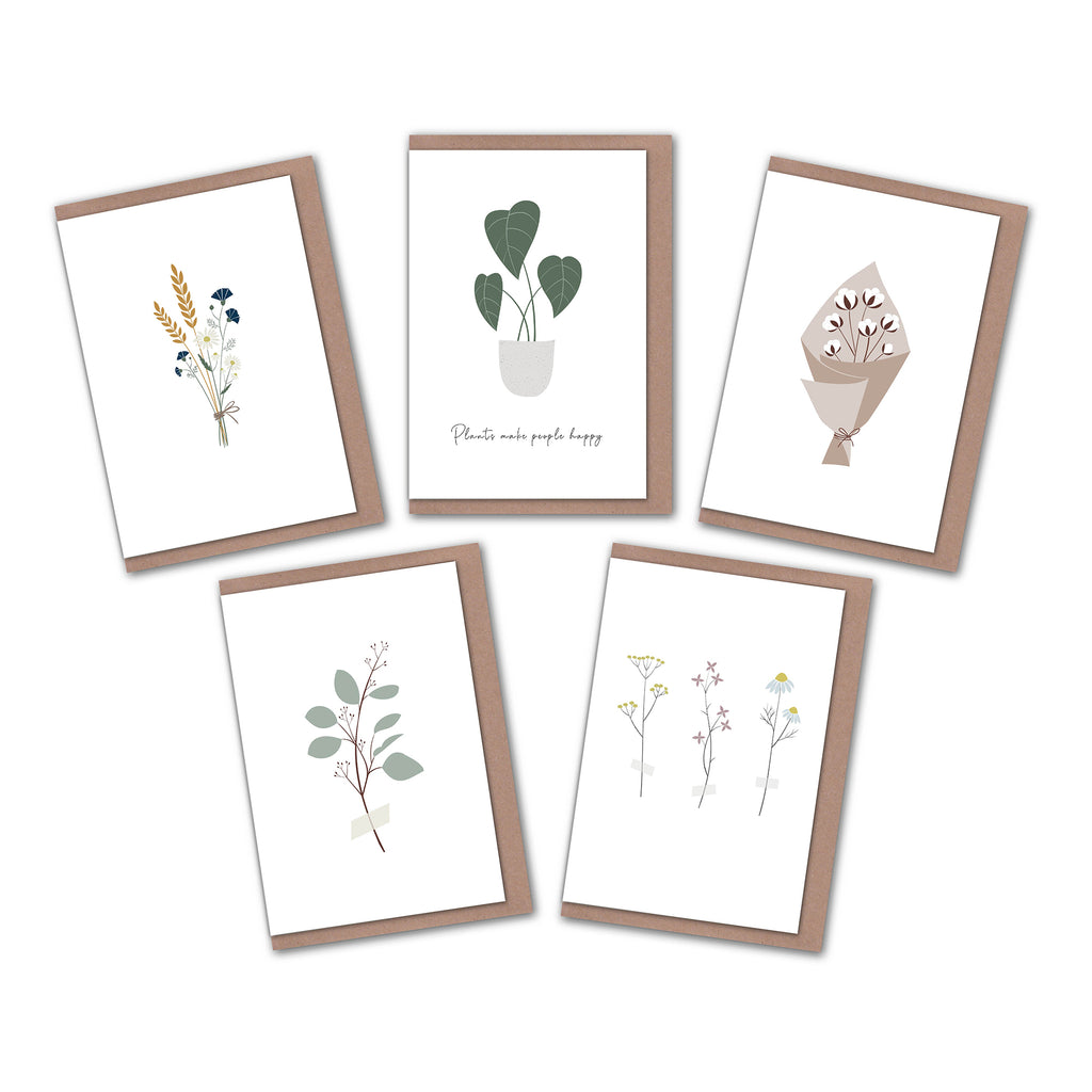 Floral greeting cards pack of 5 elemente design